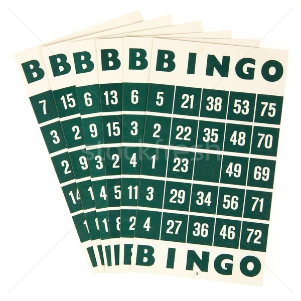 Groene bingo kaarten geïsoleerd witte kleur Stockfoto © michaklootwijk
