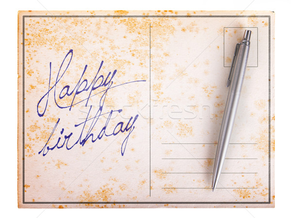Old paper postcard - Happy birthday Stock photo © michaklootwijk