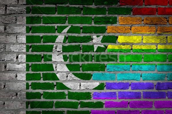 Sötét téglafal jogok Pakisztán textúra zászló Stock fotó © michaklootwijk