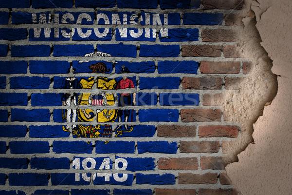 темно кирпичная стена штукатурка Висконсин текстуры флаг Сток-фото © michaklootwijk