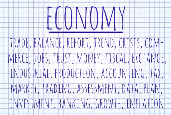 Economia word cloud scritto pezzo carta business Foto d'archivio © michaklootwijk