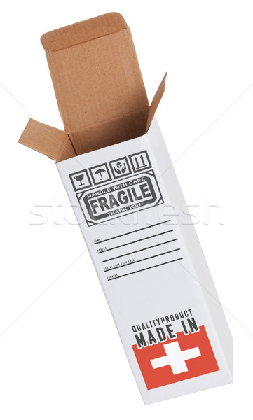 Exportar produto Suíça papel caixa Foto stock © michaklootwijk