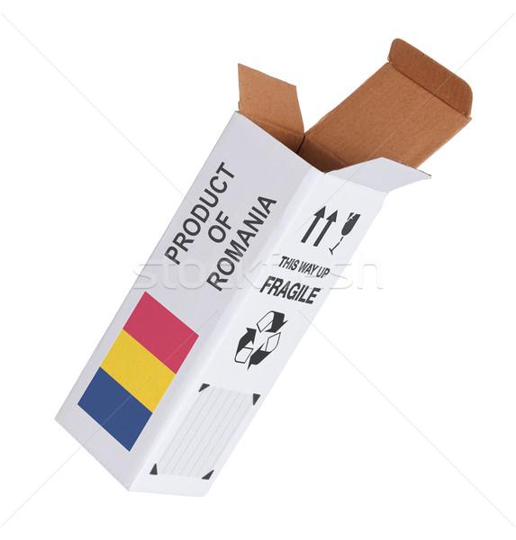 Exportar produto Romênia papel caixa Foto stock © michaklootwijk
