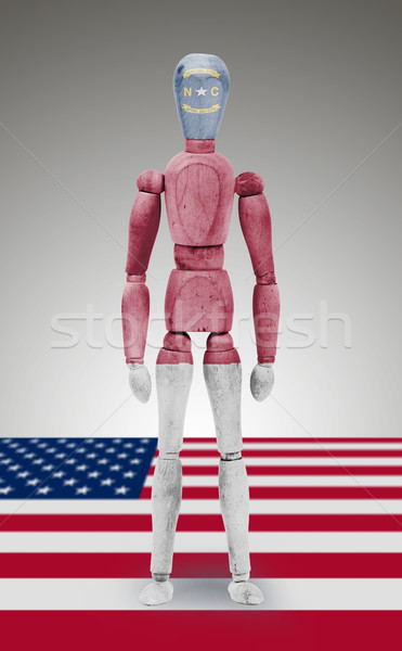 Wood figure mannequin with US state flag bodypaint - North Carol Stock photo © michaklootwijk