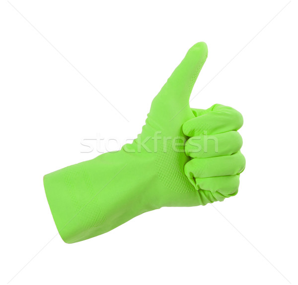 Green glove for cleaning show thumbs up Stock photo © michaklootwijk