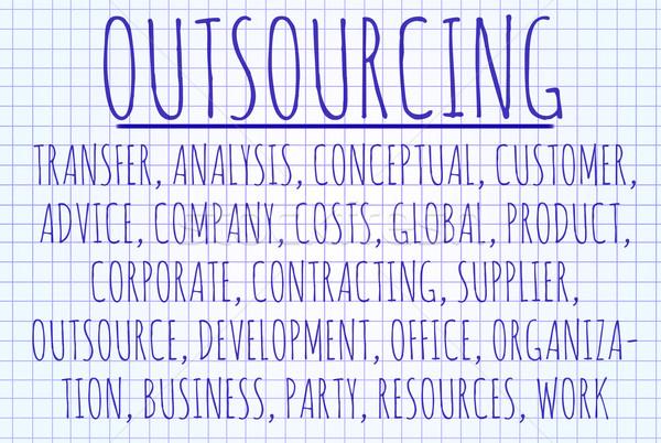Outsourcing woordwolk geschreven stuk papier internet Stockfoto © michaklootwijk