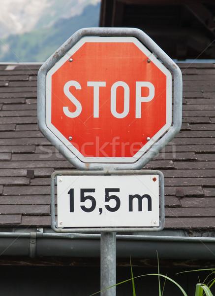 Stoptábla forgalom stop út felirat bicikli Stock fotó © michaklootwijk