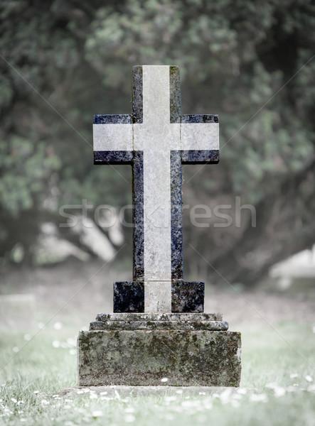 öreg sírkő temető Cornwall fű háttér Stock fotó © michaklootwijk