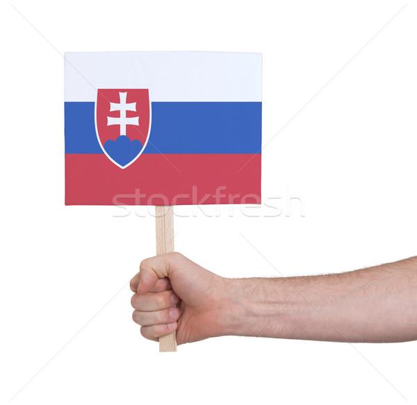 Hand holding small card - Flag of Slovakia Stock photo © michaklootwijk