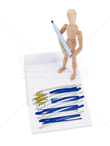Fából készült próbababa rajz Uruguay zászló papír Stock fotó © michaklootwijk