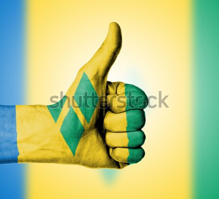 Caucasian business man and woman holding thumb up Stock photo © michaklootwijk