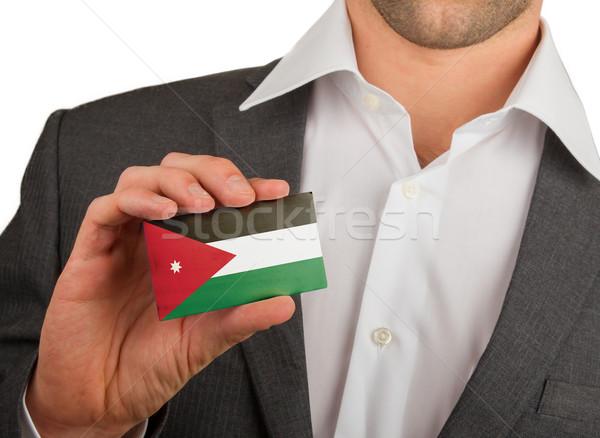 Foto stock: Empresário · cartão · de · visita · Jordânia · bandeira · trabalhador