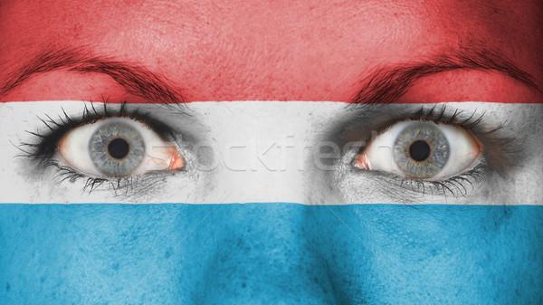 Ogen vlag geschilderd gezicht Luxemburg Stockfoto © michaklootwijk