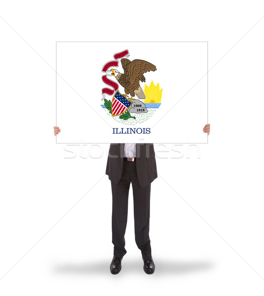 Smiling businessman holding a big card, flag of Illinois Stock photo © michaklootwijk