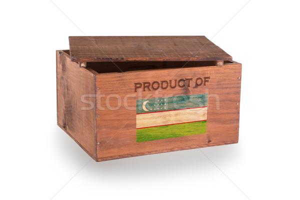 Stock fotó: Fából · készült · láda · izolált · fehér · termék · Üzbegisztán