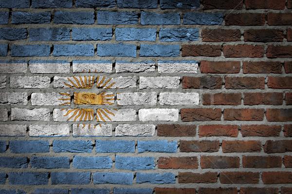 Photo stock: Sombre · mur · de · briques · Argentine · texture · pavillon · peint