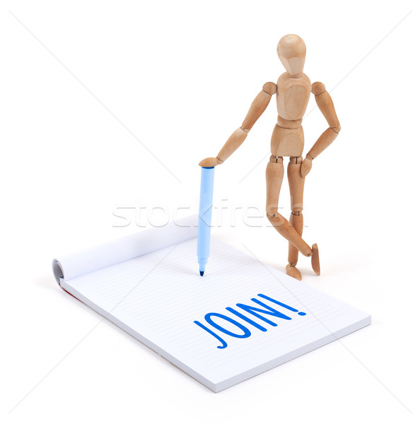 Wooden mannequin writing - Join Stock photo © michaklootwijk