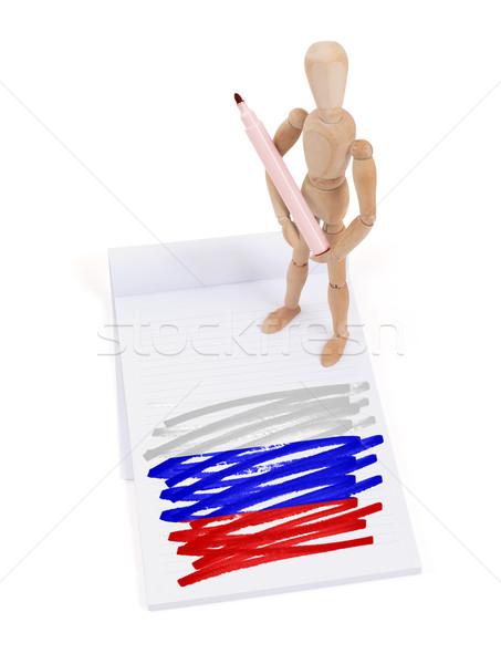 Ahşap manken çizim Rusya bayrak kâğıt Stok fotoğraf © michaklootwijk