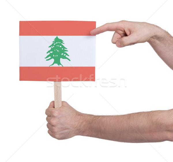 El küçük kart bayrak Lübnan Stok fotoğraf © michaklootwijk