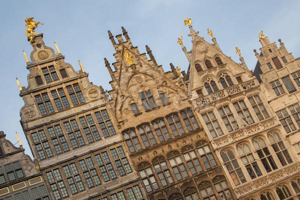 ősi házak központi tér központ Belgium Stock fotó © michaklootwijk