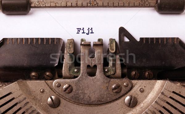古い タイプライター フィジー 碑文 国 手紙 ストックフォト © michaklootwijk