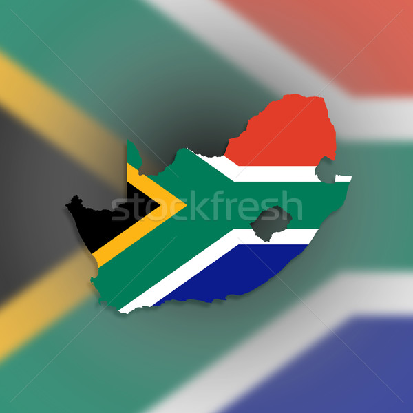Map of South Africa with national flag Stock photo © michaklootwijk