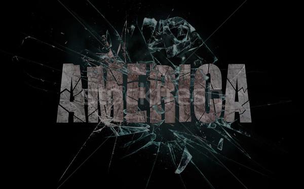 Erőszak csattanás Amerika törött üveg szó absztrakt Stock fotó © michaklootwijk