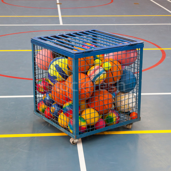 Collection of different balls in a metal cage Stock photo © michaklootwijk