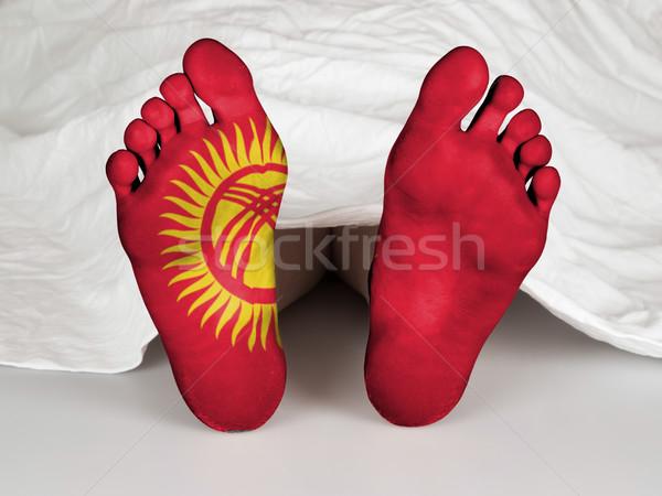 Láb zászló alszik halál Kirgizisztán nő Stock fotó © michaklootwijk