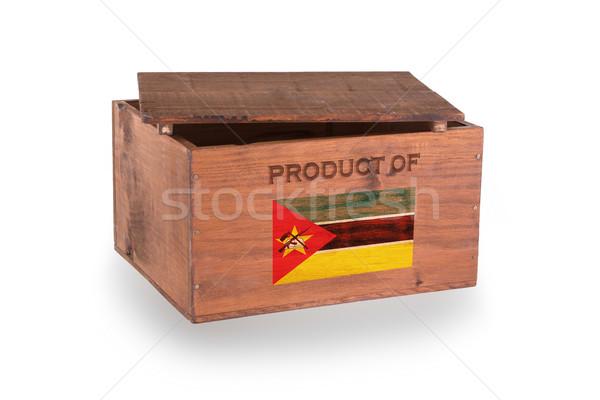 Stock fotó: Fából · készült · láda · izolált · fehér · termék · Mozambik