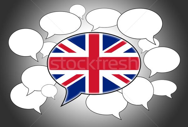 Communicatie speech cloud stem Verenigd Koninkrijk abstract frame Stockfoto © michaklootwijk