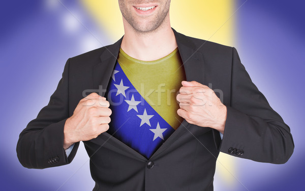 Empresario apertura traje camisa bandera Bosnia Herzegovina Foto stock © michaklootwijk