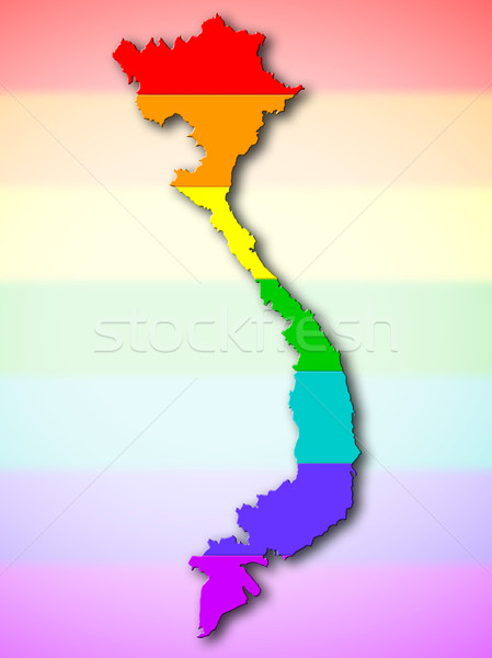 Rainbow pavillon modèle Viêt-Nam carte gay Photo stock © michaklootwijk