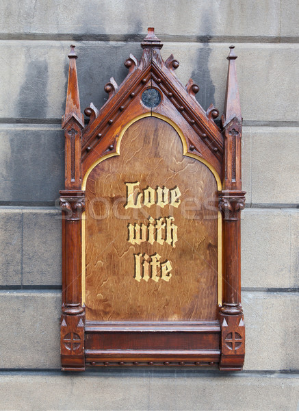 Decorative wooden sign - Love with life Stock photo © michaklootwijk