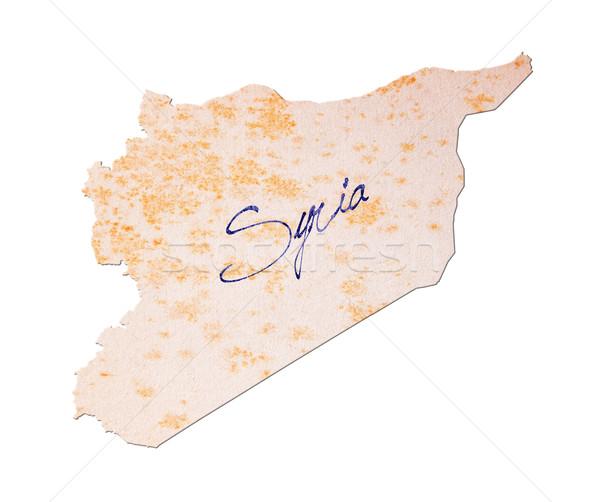 Syrie vieux papier écriture bleu encre pavillon Photo stock © michaklootwijk