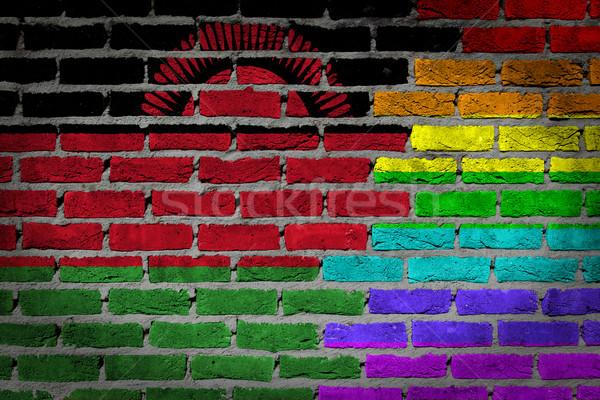 темно кирпичная стена правые Малави текстуры флаг Сток-фото © michaklootwijk