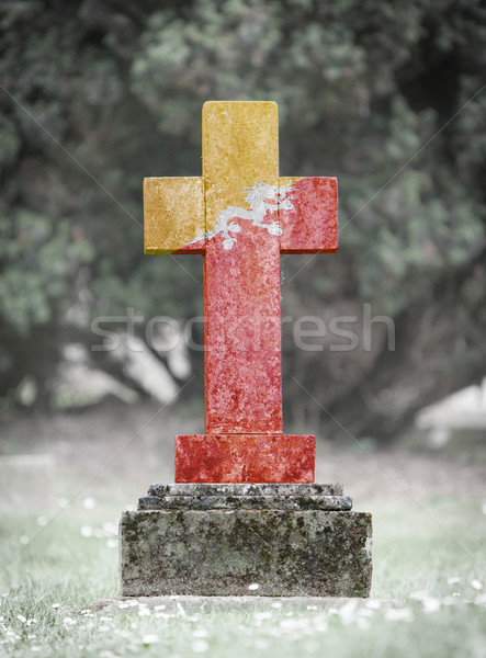 墓石 墓地 ブータン 古い 風化した フラグ ストックフォト © michaklootwijk