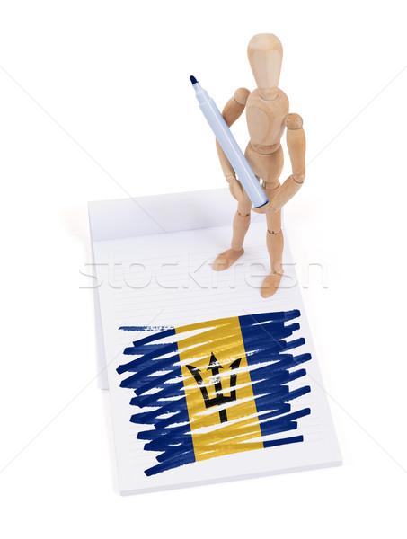 Houten etalagepop tekening Barbados vlag papier Stockfoto © michaklootwijk