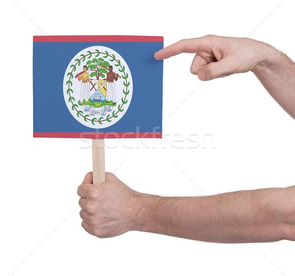 Kéz tart kicsi kártya zászló Belize Stock fotó © michaklootwijk