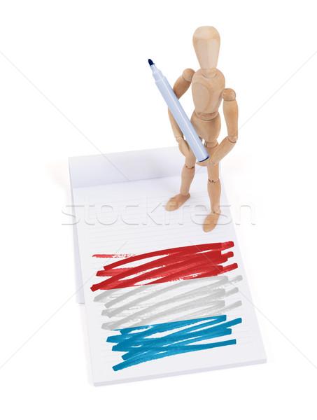 Houten etalagepop tekening Luxemburg vlag papier Stockfoto © michaklootwijk
