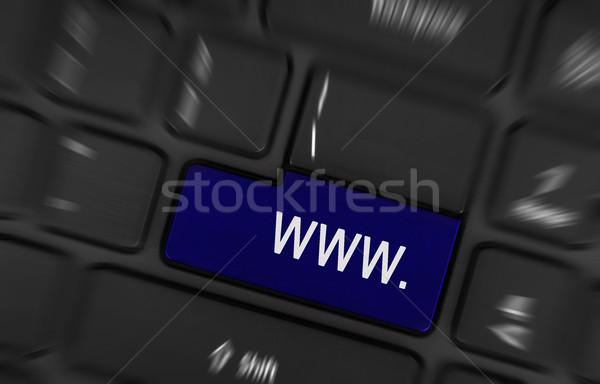 Mavi www düğme siyah klavye teknoloji Stok fotoğraf © michaklootwijk