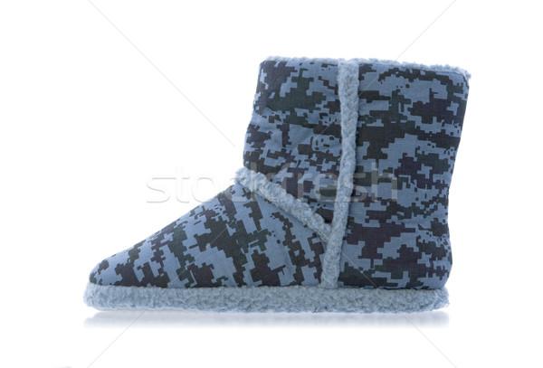 Warm pantoffel camouflage print geïsoleerd witte Stockfoto © michaklootwijk
