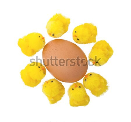 Stock photo: Easter chicks surrounding a large egg