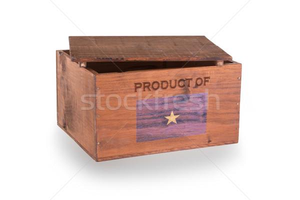 Stock fotó: Fából · készült · láda · izolált · fehér · termék · Szomália