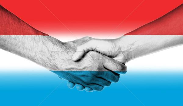 Man vrouw handen schudden vlag patroon Luxemburg Stockfoto © michaklootwijk