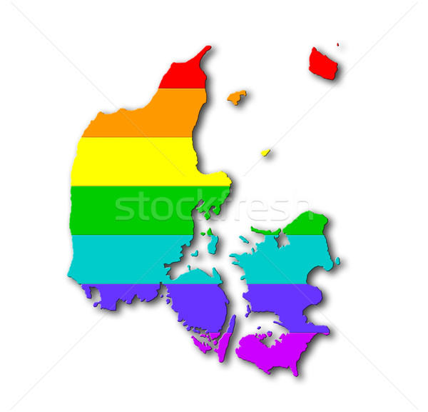 Arco iris bandera patrón Dinamarca mapa gay Foto stock © michaklootwijk