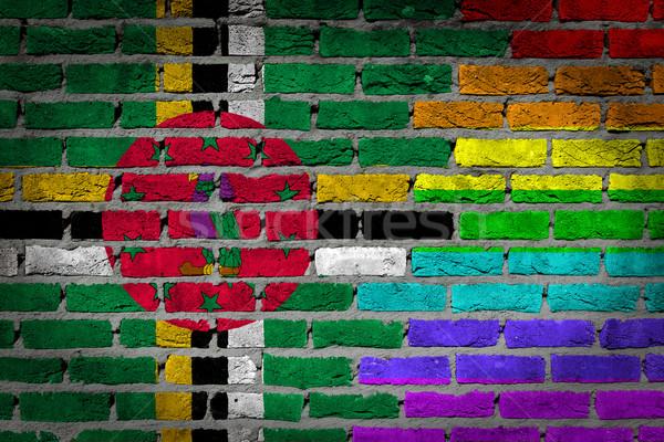 Escuro parede de tijolos direitos Dominica textura bandeira Foto stock © michaklootwijk