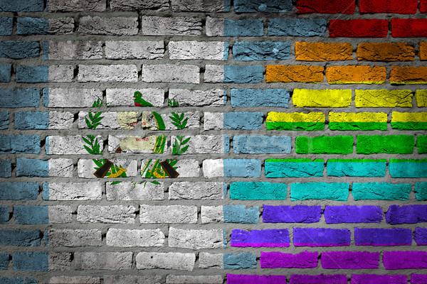 темно кирпичная стена правые Гватемала текстуры флаг Сток-фото © michaklootwijk