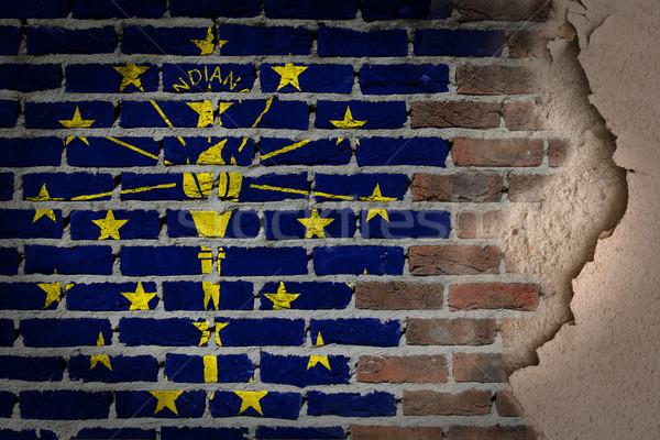 Sötét téglafal tapasz Indiana textúra zászló Stock fotó © michaklootwijk