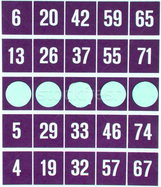 Purple бинго карт изолированный используемый белый Сток-фото © michaklootwijk